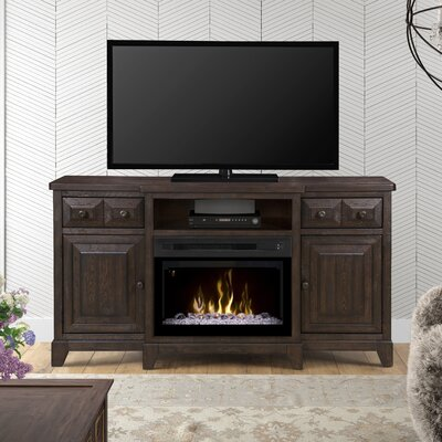 Open Storage 66 TV Stand with Fireplace Firebox Type: Acrylic Ice
