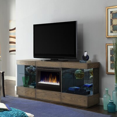 Axel 70 TV Stand with Electric Fireplace Firebox: Multi-Fire XD Acrylic Ice