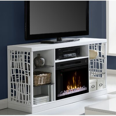 Charlotte 60 TV Stand with Fireplace Insert Style: Acrylic Ice