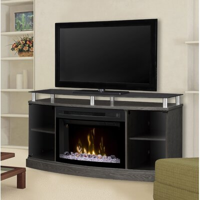 Windham 53 TV Stand with Fireplace Firebox: Acrylic Ice, Color: Silver Charcoal
