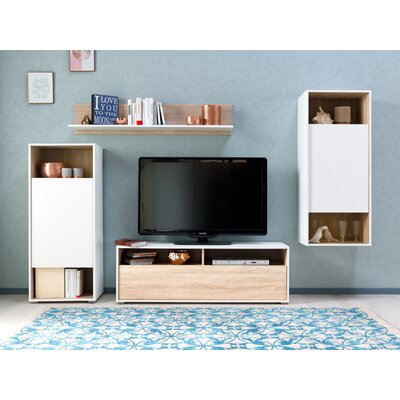 Rossi Wall Unit 51 Entertainment Center Color: WHITE/OAK