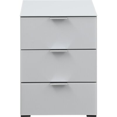 Helms 3 Drawer Nightstand Color: Silkgray Matt