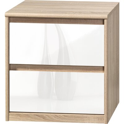 Wallner 2 Drawer Nightstand Color: Oak/White High Gloss
