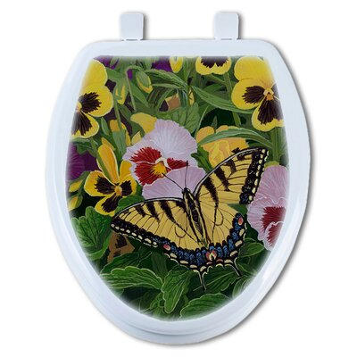 Butterfly and Pansy Round Toilet Seat
