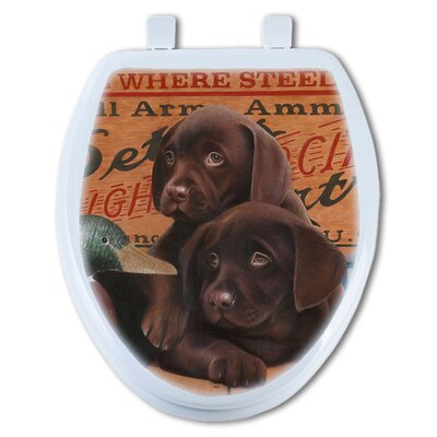 Chocolate Lab Puppies Round Toilet Seat