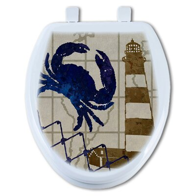 Crab and Lighthouse Elongated Toilet Seat
