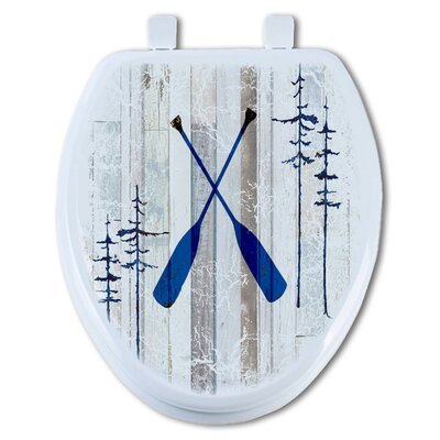 Oars on Wood Round Toilet Seat