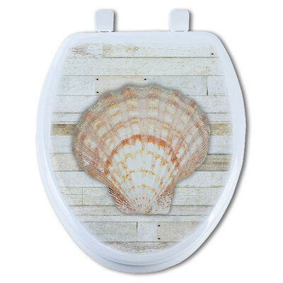 Seashell 1 on Wood Elongated Toilet Seat