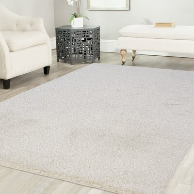 Gassin Shag White Area Rug Rug Size: Rectangle 8 x 10