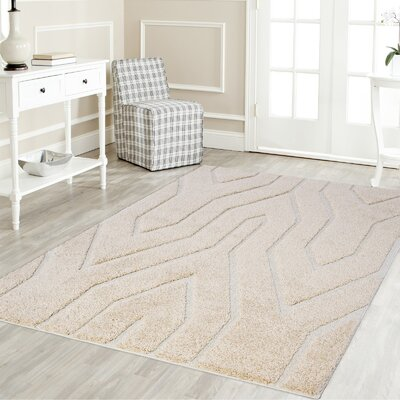 Ruiz Glam Moroccan Shag Beige/White Area Rug Rug Size: Rectangle 5 x 8
