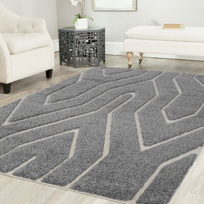 Ruiz Shag Gray/White Area Rug Rug Size: Rectangle 8 x 10