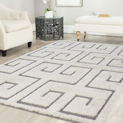 Ruiz Shag White/Gray Area Rug Rug Size: Rectangle 5 x 8