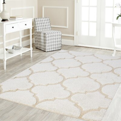 Ruiz Shag White/Beige Area Rug Rug Size: Rectangle 4 x 6