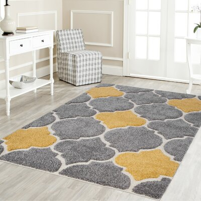 Ruiz Shag Gray/Yellow Area Rug Rug Size: Rectangle 2 x 8