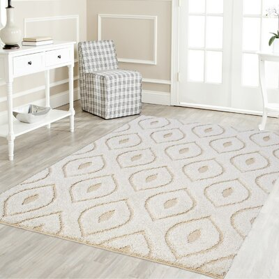 Ruiz Moroccan Shag White/Beige Area Rug Rug Size: Rectangle 2 x 8