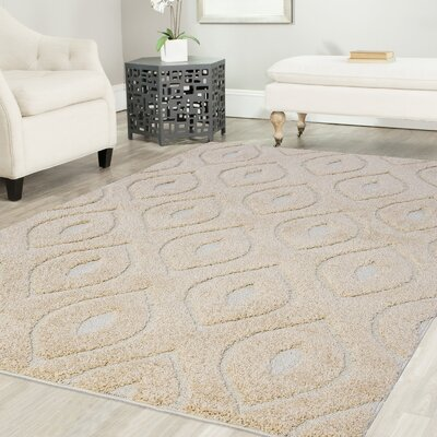 Ruiz Glam Shag Beige/White Area Rug Rug Size: Rectangle 4 x 6