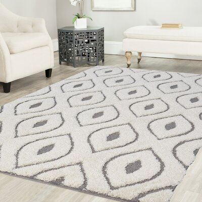 Ruiz Moroccan Shag White/Gray Area Rug Rug Size: Rectangle 2 x 8