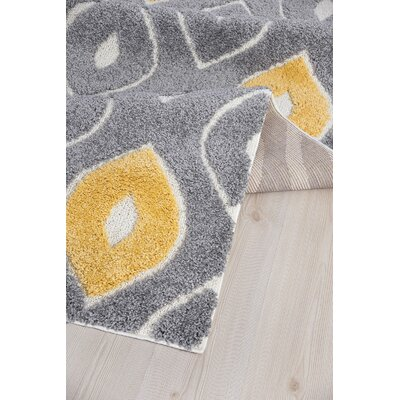 Ruiz Moroccan Shag Gray/Yellow Area Rug Rug Size: Rectangle 4 x 6