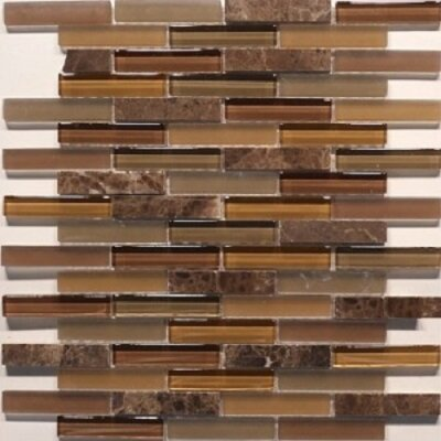 Mix Castano Bar 0.63 x 3 Natural Stone Mosaic Tile in Mocha