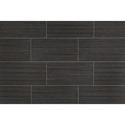 Bamboo 12 x 24 Porcelain Field Tile in Noir Linen