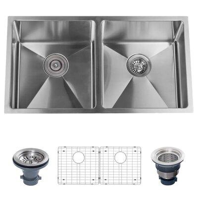 Stainless Steel 32 x 18 Double Basin Undermount Kitchen Sink with 50/50 Split