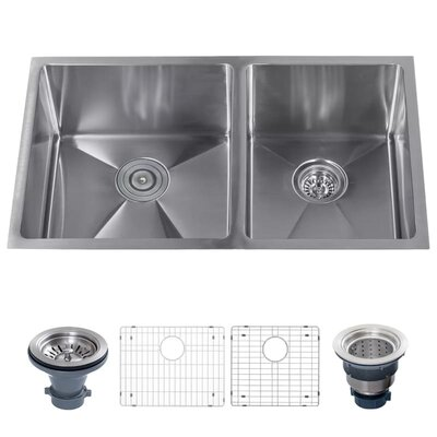 Stainless Steel 32 x 19 Double Basin Undermount Kitchen Sink with 60/40 Split