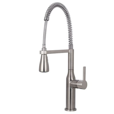 Chico Commercial Style Pre-Rinse Pull Down Single Handle Kitchen Faucet Finish: Stainless Steel