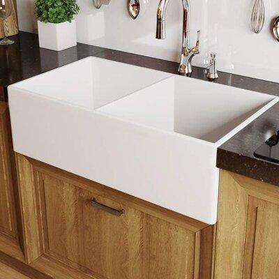 Modena Fireclay 33 x 18 Double Basin Farmhouse Kitchen Sink