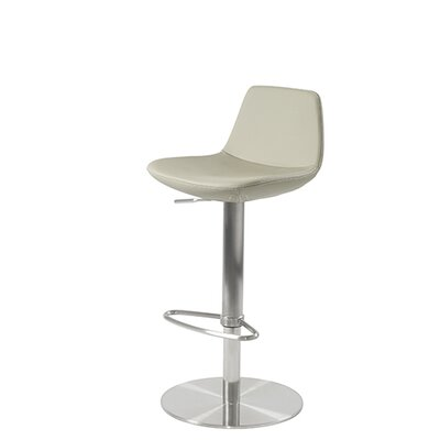 Shinn Piston Adjustable Swivel Height Bar Stool Leg Color: Chrome, Seat Color: Bone Leatherette