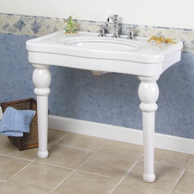 Versailles Ceramic 36 Console Bathroom Sink with Overflow Size: 36