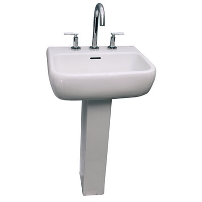 Metropolitan 600 Vitreous China Rectangular Pedestal Bathroom Sink with Overflow