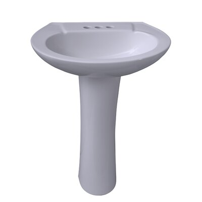 Chelsea 450 Vitreous China Oval Pedestal Bathroom Sink with Overflow