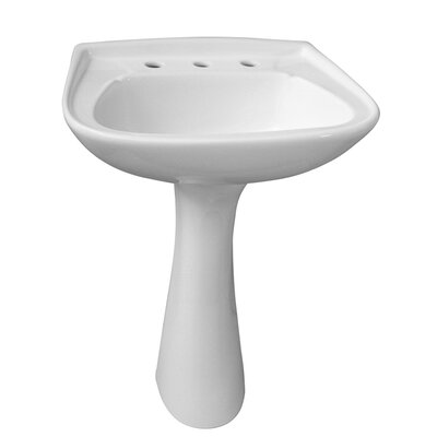 Hartford Vitreous China Circular Pedestal Bathroom Sink with Overflow