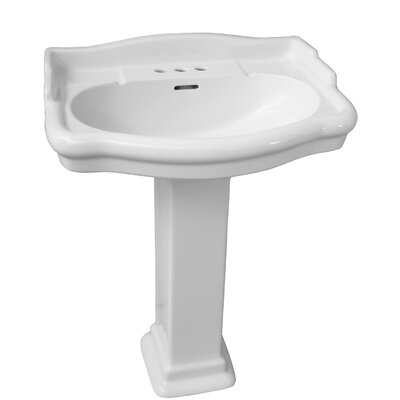 Stanford 550 Vitreous China 22 Pedestal Bathroom Sink with Overflow