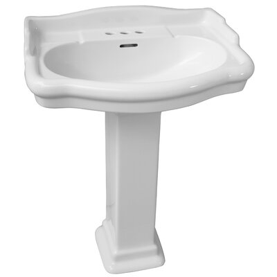 Stanford 550 Vitreous China Rectangular Pedestal Bathroom Sink with Overflow