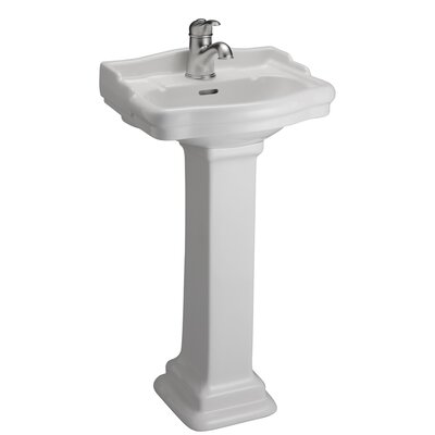 Stanford 460 Vitreous China Rectangular Pedestal Bathroom Sink with Overflow