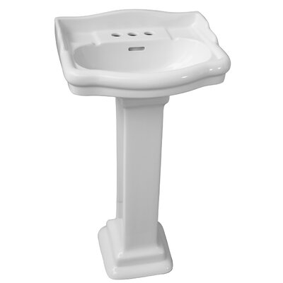 Stanford 660 Vitreous China Rectangular Pedestal Bathroom Sink with Overflow