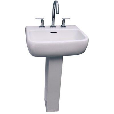 Metropolitan 420 Vitreous China Rectangular Pedestal Bathroom Sink with Overflow