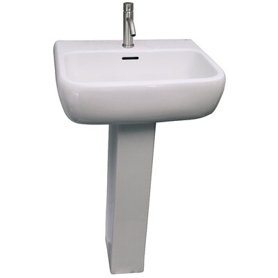 Metropolitan 520 Vitreous China Rectangular Pedestal Bathroom Sink with Overflow