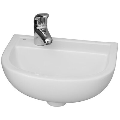 Vitreous China 15 Wall Mount Bathroom Sink with Overflow