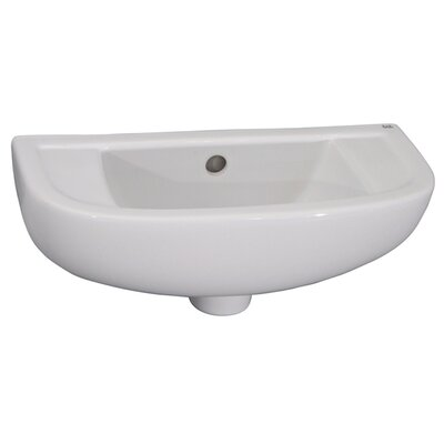 Vitreous China 18 Wall Mount Bathroom Sink with Overflow
