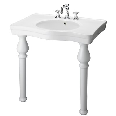 Vitreous China 34 Console Bathroom Sink with Overflow