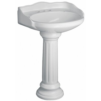 Vicki Vitreous China Circular Pedestal Bathroom Sink with Overflow Sink Finish: White