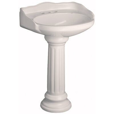 Victoria Vitreous China Circular Pedestal Bathroom Sink with Overflow Sink Finish: Bisque