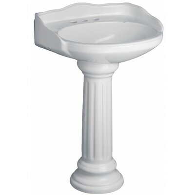Victoria Vitreous China Circular Pedestal Bathroom Sink with Overflow Sink Finish: White