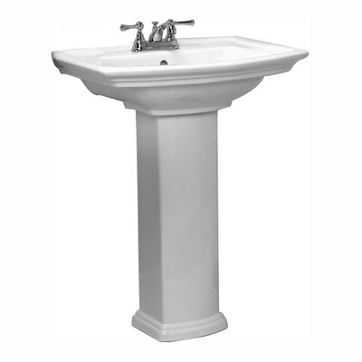 Washington 765 Vitreous China 30 Pedestal Bathroom Sink with Overflow Faucet Mount: 8 Centers