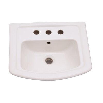 Washington 460 Vitreous China 19 Pedestal Bathroom Sink with Overflow Faucet Mount: 8 Centers