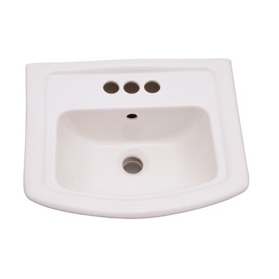Washington 460 Vitreous China 19 Pedestal Bathroom Sink with Overflow Faucet Mount: 4 Centers