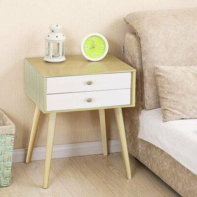 Claussen Modern 2 Drawer Nightstand Color: White Wood
