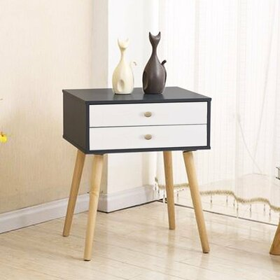 Claussen Modern 2 Drawer Nightstand Color: Black/White